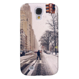 A Man Crossing A Snowy Central Park West Samsung Galaxy S4 Case