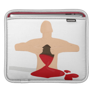 A man figure ripping his chest with bleeding heart sleeve for iPads