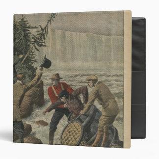 A man in a barrel crossing the Niagara Falls 3 Ring Binder