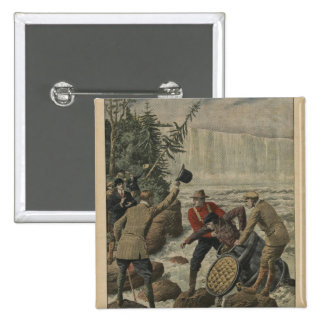 A man in a barrel crossing the Niagara Falls Pinback Button