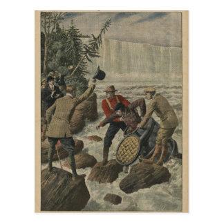 A man in a barrel crossing the Niagara Falls Postcard