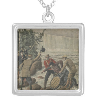 A man in a barrel crossing the Niagara Falls Silver Plated Necklace