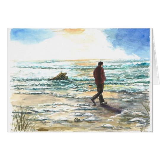 A man in thought at the beach card