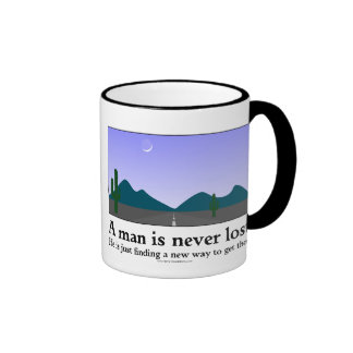 A Man Is Never Lost Ringer Coffee Mug