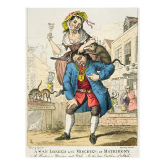 A Man Loaded with Mischief, or Matrimony, c.1766 Postcard
