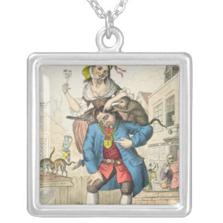 A Man Loaded with Mischief, or Matrimony, c.1766 Silver Plated Necklace