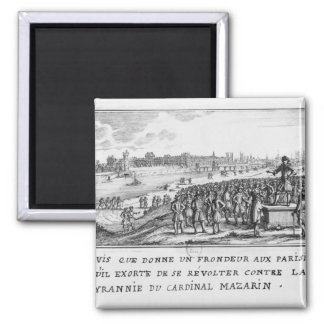 A man of the Fronde exhorting the Parisians 2 Inch Square Magnet