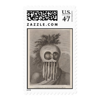 A Man of the Sandwich Islands in a Mask - c. 1784 Postage