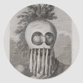 A Man of the Sandwich Islands in a Mask Round Sticker