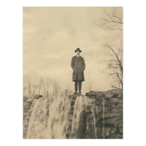 A man on a cliff postcards