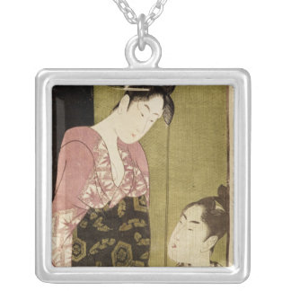 A Man Painting a Woman Silver Plated Necklace