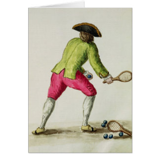 A Man Playing with a Racquet and Balls Greeting Card