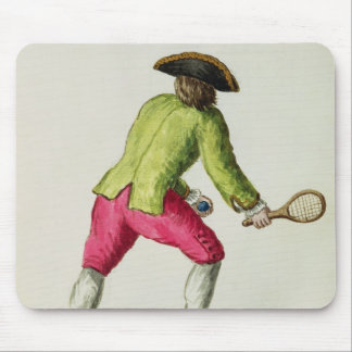 A Man Playing with a Racquet and Balls Mouse Pad