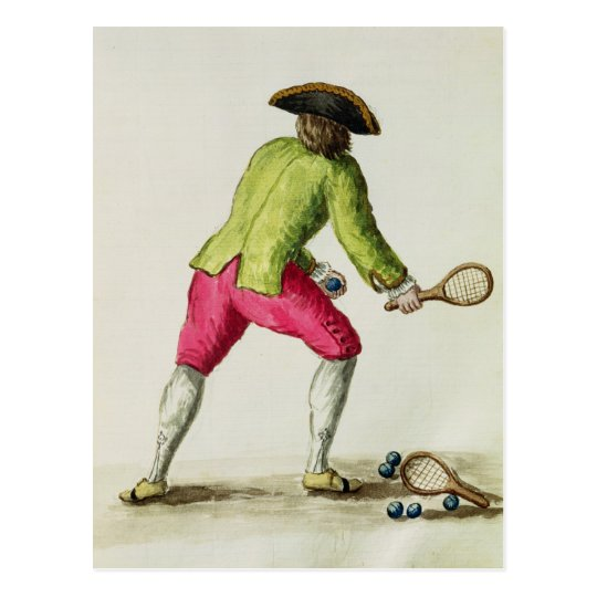 A Man Playing with a Racquet and Balls Postcard
