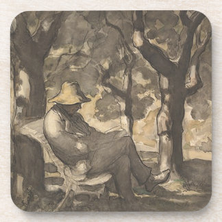 A Man Reading in a Garden Drink Coaster
