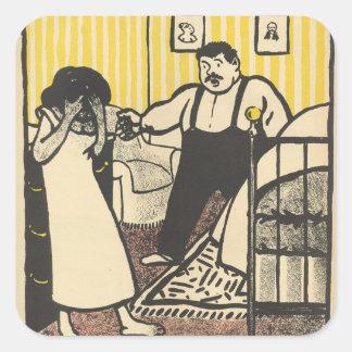 A man reproaches his pregnant mistress square sticker