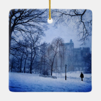 A Man Walking In Central Park On A Winter Evening Ceramic Ornament