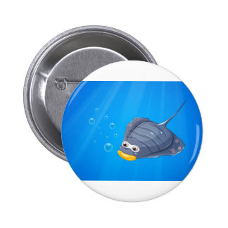 A manta ray under the sea 2 inch round button