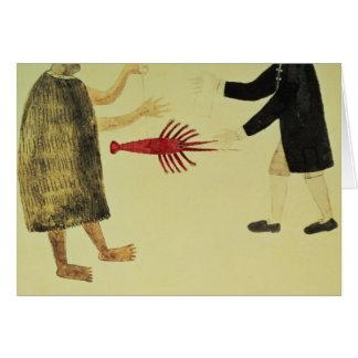A Maori bartering a crayfish Card