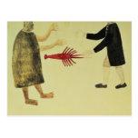 A Maori bartering a crayfish Postcard