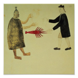 A Maori bartering a crayfish Poster
