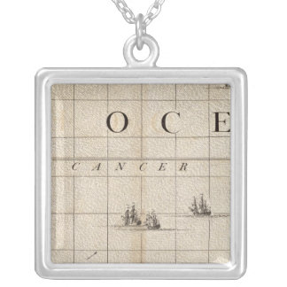 A Map of the British Empire in America Sheet 15 Silver Plated Necklace