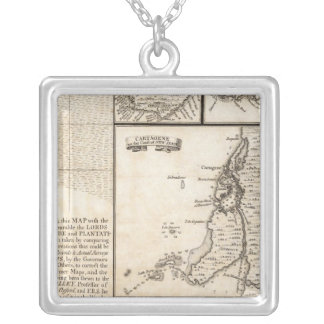 A Map of the British Empire in America Sheet 20 Silver Plated Necklace