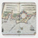 A Map of the coastline of Brittany, 1588 Square Sticker