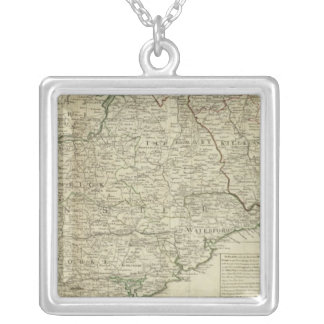 A map of the Kingdom of Ireland Southern section Silver Plated Necklace