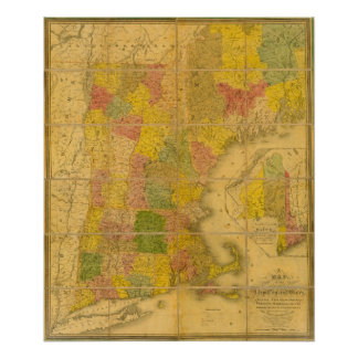 A Map of the New England States Poster