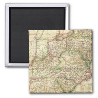 A Map Of The Roads, Canals And Steam Boat 2 Inch Square Magnet