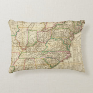 A Map Of The Roads, Canals And Steam Boat Decorative Pillow