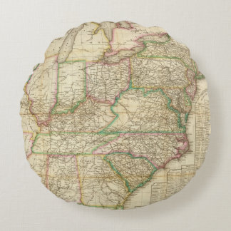 A Map Of The Roads, Canals And Steam Boat Round Pillow