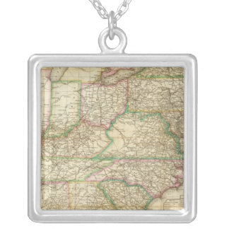 A Map Of The Roads, Canals And Steam Boat Silver Plated Necklace