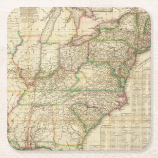 A Map Of The Roads, Canals And Steam Boat Square Paper Coaster