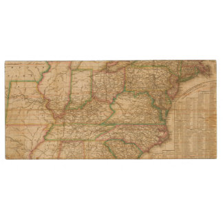 A Map Of The Roads, Canals And Steam Boat Wood USB Flash Drive