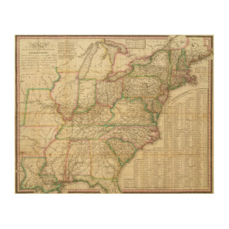 A Map Of The Roads, Canals And Steam Boat Wood Wall Art