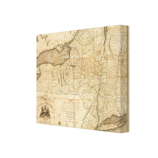 A Map of the State Of New York Stretched Canvas Prints