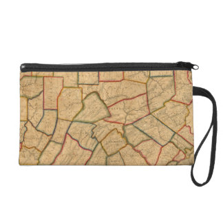 A Map Of The State Of Pennsylvania Wristlet Clutches