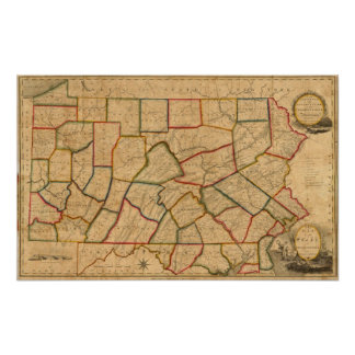 A Map Of The State Of Pennsylvania Poster