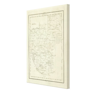 A Map of the Vendee Stretched Canvas Print