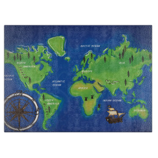 A Map Of the world. Cutting Boards