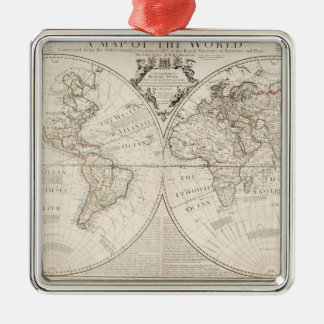A Map of the World Metal Ornament