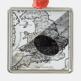 A Map Showing the Passage of  Shadow of the Moon Square Metal Christmas Ornament