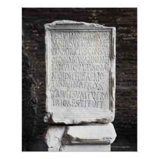 A marble Tablet from inside  The Colosseum or Poster
