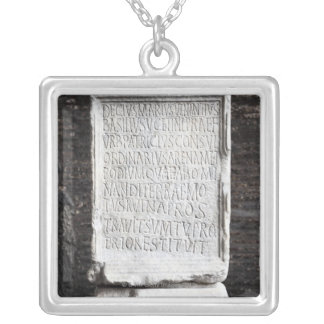 A marble Tablet from inside  The Colosseum or Square Pendant Necklace