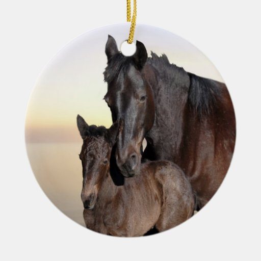 A mare and her baby foal christmas tree christmas tree ornament