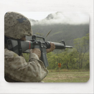 A Marine conducts drills Mouse Pad