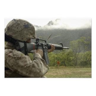 A Marine conducts drills Photo Art