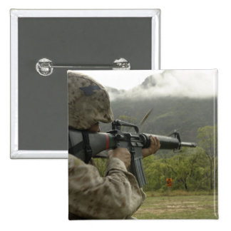 A Marine conducts drills Pinback Button